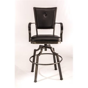 MER-1184 Faux Leather Bar Stool in Bronze Pewter