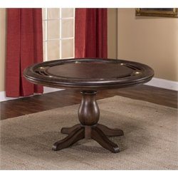 Bowery Hill Round Faux Leather Game Table in Brown Cherry