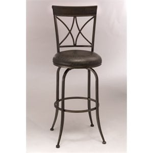 MER-1184 Faux Leather Swivel Bar Stool in Antique Pewter