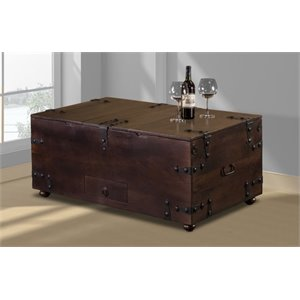 Bowery Hill Storage Trunk Coffee Table in Brown