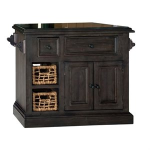 Bowery Hill Small Granite Top Kitchen Island in Gray