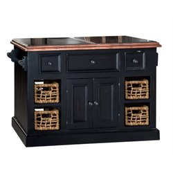 Bowery Hill Large Granite Top Kitchen Island in Black