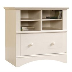 Bowery Hill 1 Drawer Lateral Wood File Cabinet in Antique White