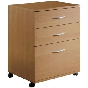 Bowery Hill 3 Drawer Lateral Mobile Filing Cabinet in Natural Maple