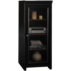 Bowery Hill Audio Cabinet with 2 Adjustable Shelves in Antique Black