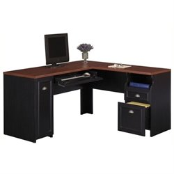 Bowery Hill L-Shaped Wood Computer Desk in Black