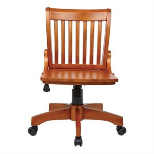 Bowery Hill Armless Office Chair with Wood Seat in Medium Fruitwood
