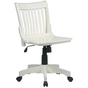 Bowery Hill Armless Wood Banker's Office Chair in Antique White