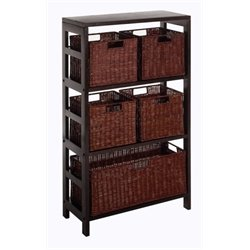 Bowery Hill Storage Shelf with Baskets in Espresso
