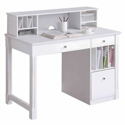 Bowery Hill Deluxe Solid Wood Desk with Hutch in White