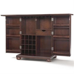 Bowery Hill Expandable Home Bar Cabinet in Vintage Mahogany