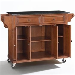 Bowery Hill Solid Black Granite Top Kitchen Cart in Classic Cherry