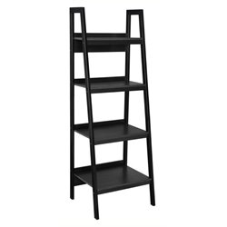 Bowery Hill Ladder Bookcase in Black (Set of 2)