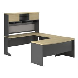 Bowery Hill U-Shaped Computer Desk in Natural and Gray