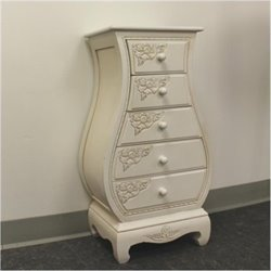 Bowery Hill 5 Drawer Carved Wood Lingerie Chest in White