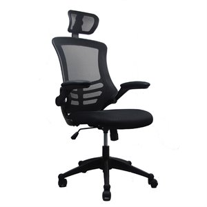 Bowery Hill Executive High Back Office Chair with Headrest in Black