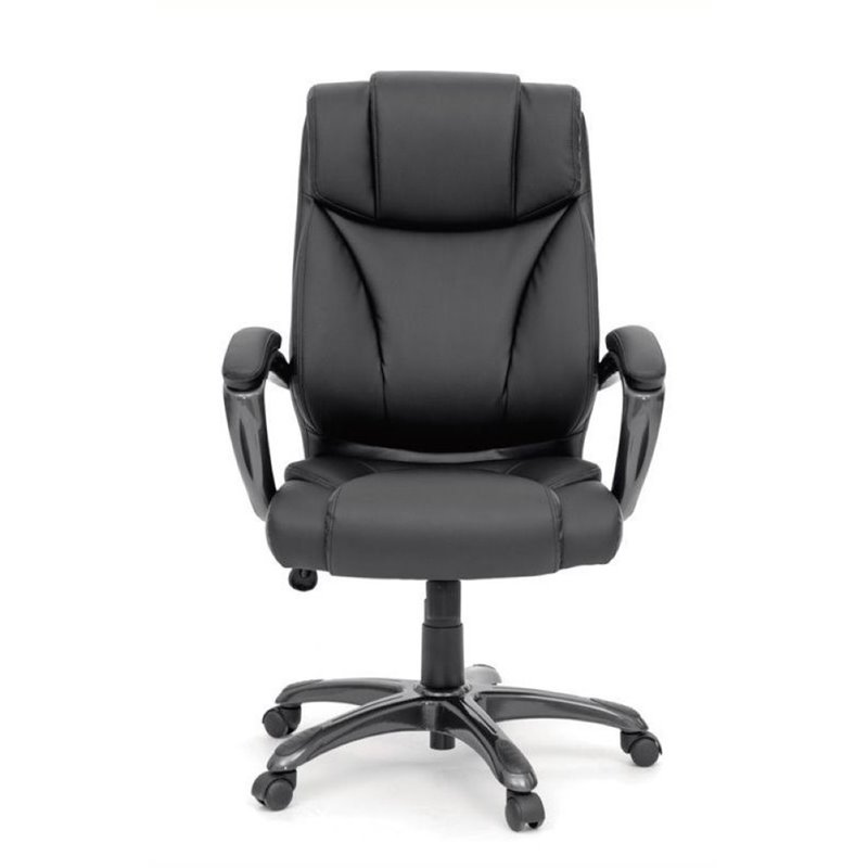 executive office chair leather black in black