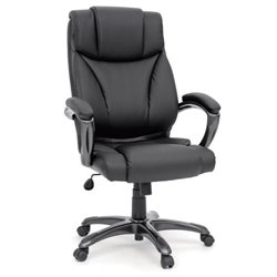 Bowery Hill Executive Office Chair Leather Black in Black
