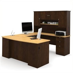 Bowery Hill U Shaped Computer Desk in Secret Maple and Chocolate