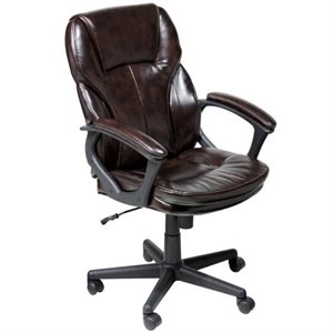 Bowery Hill Faux Leather Manager Office Chair in Brown Puresoft