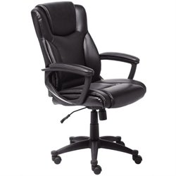Bowery Hill Bonded Leather Executive Office Chair in Black