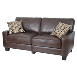 Bowery Hill Bonded Leather Sofa in Chestnut Brown
