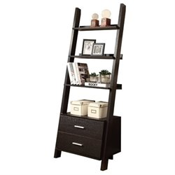 Bowery Hill 4 Shelf Ladder Bookcase with 2 Drawers in Cappuccino