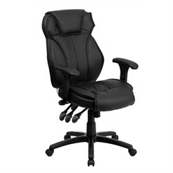 Bowery Hill High Back Leather Executive Office Chair in Black
