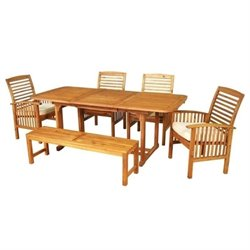 Bowery Hill 6 Piece Wood Patio Dining Set with Cushion in Brown