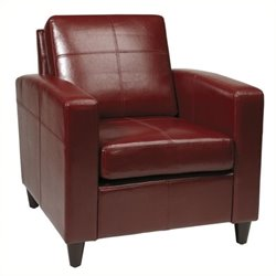 Bowery Hill Leather Club Chair in Red