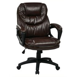 Bowery Hill Faux Leather Managers Office Chair in Chocolate