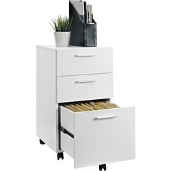 Bowery Hill 3 Drawer Mobile File Cabinet in White