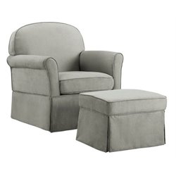 Bowery Hill Swivel Glider and Ottoman Set in Light Gray