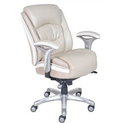 Bowery Hill Ergonomic Leather Manager Office Chair in Beige