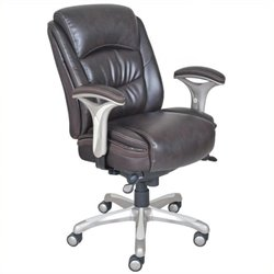 Bowery Hill Ergonomic Leather Manager Office Chair in Brown