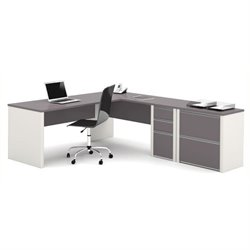 Bowery Hill L-Shaped Office Set with Lateral File in Sandstone