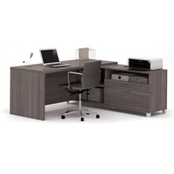 Bowery Hill L-Shaped Desk in Bark Gray