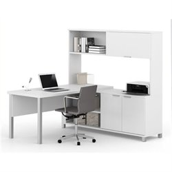 Bowery Hill L-Desk with Hutch in White