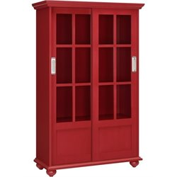 Bowery Hill 4 Shelf Sliding Glass Door Bookcase in Red
