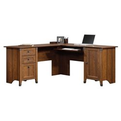 Bowery Hill L-Shaped Computer Desk in Washington Cherry