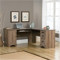 Bowery Hill L-Shaped Computer Desk in Salt Oak
