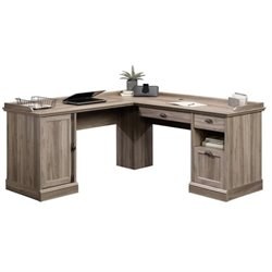 Bowery Hill L-Shaped Desk in Salt Oak