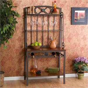 Bowery Hill Decorative Baker's Rack with Wine Rack