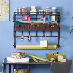Bowery Hill Wall Mount Craft Storage Rack with Baskets in Black