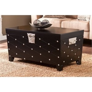 Bowery Hill Nailhead Trunk Coffee Table in Black and Silver