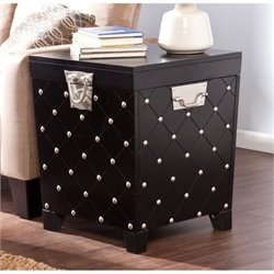 Bowery Hill Nailhead Trunk End Table in Black and Silver