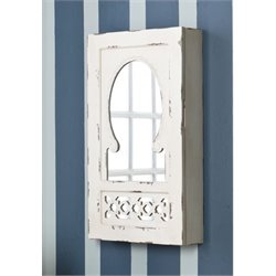 Bowery Hill Wall Mount Jewelry Armoire in Antique White