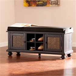 Bowery Hill Embossed Door Storage Bench in Black