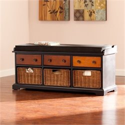 Bowery Hill Storage Bench in Black and Wood