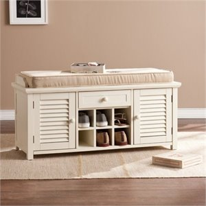 Bowery Hill Shoe Storage Bench in Antique White